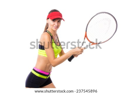 Budding tennis player. Victory. - stock photo