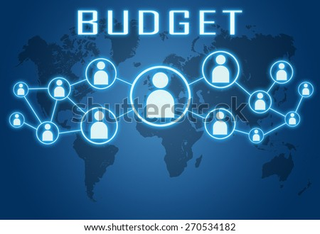 Budget concept on blue background with world map and social icons. - stock photo