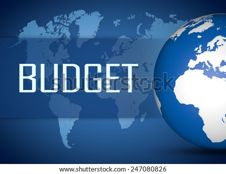 Budget concept with globe on blue world map background - stock photo