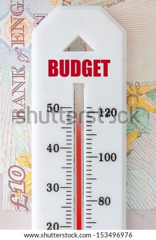 Budget concept with thermometer on top of banknotes  - stock photo