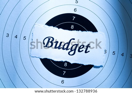 Budget concept, word on target paper - stock photo