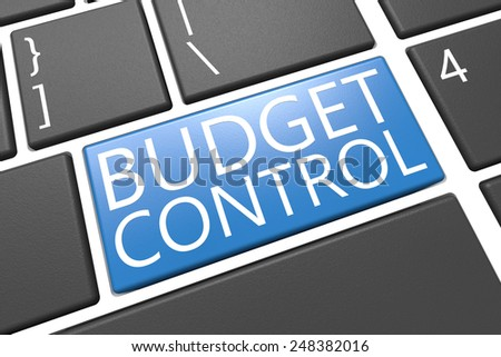 Budget Control - keyboard 3d render illustration with word on blue key - stock photo