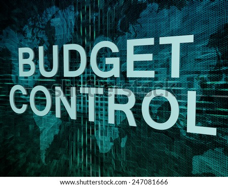 Budget Control text concept on green digital world map background  - stock photo