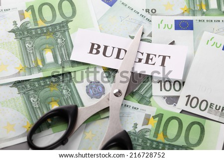 "Budget cut. Scissors and the word ""Budget"" on euro currency background."