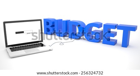 Budget - laptop computer connected to a word on white background. 3d render illustration. - stock photo