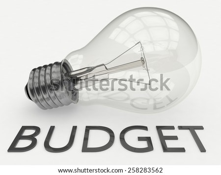 Budget - lightbulb on white background with text under it. 3d render illustration. - stock photo