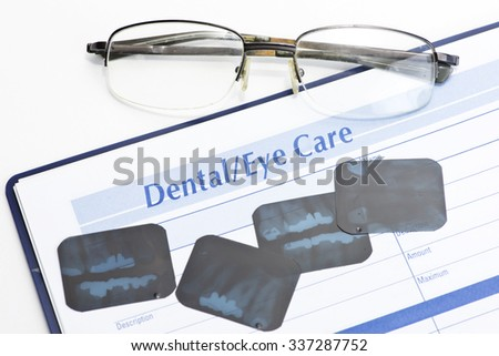 Budget personal financial record of optometry and dental expenses.