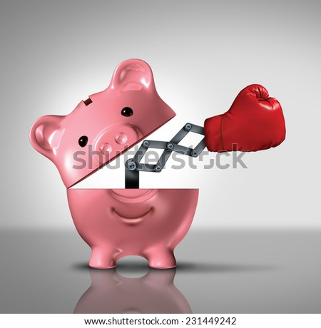 Budget power financial concept as an open ceramic piggy bank with a punching boxing glove as a metaphor for the best savings solutions and interest rates to manage consumer debt and spending. - stock photo