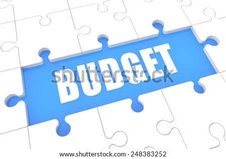 Budget - puzzle 3d render illustration with word on blue background - stock photo