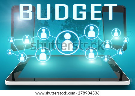 Budget - text illustration with social icons and tablet computer and mobile cellphones on cyan digital world map background - stock photo