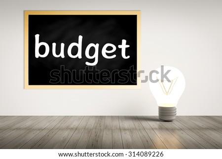 budget with idea lightbulb illustration - stock photo