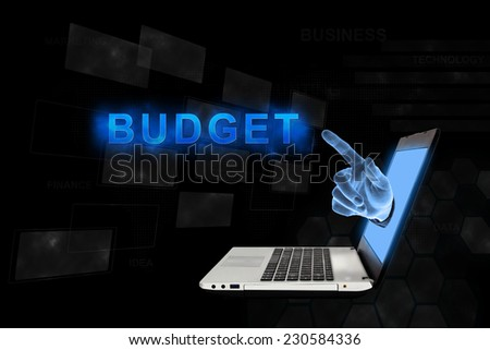 budget word from laptop with digital background - stock photo