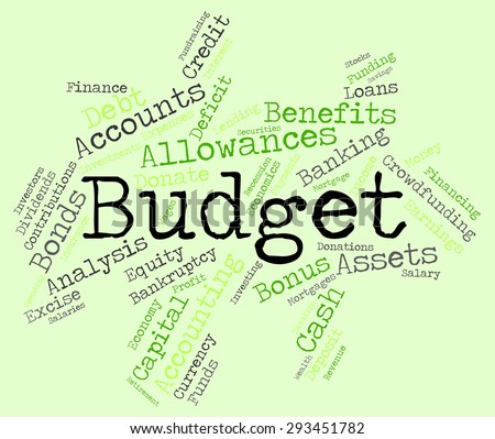 Budget Words Indicating Budgets Wordcloud And Financial  - stock photo