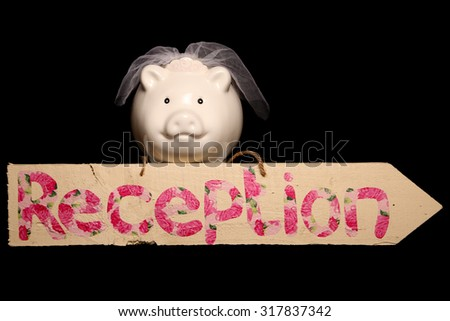 Budgeting for your wedding piggy bank cutout - stock photo