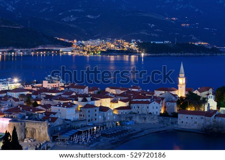 Budva city and bay at night, Montenegro, Europe. Street and moon light