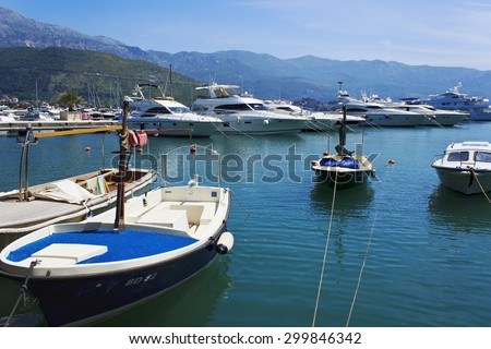 Budva/Montenegro - May 31 2015: The bay in the Adriatic sea with boats and yachts