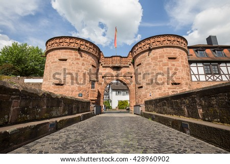 buedingen historic city wall hessen germany