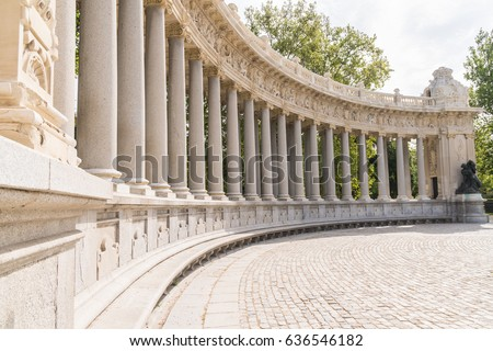 Buen Retiro Park Gardens, Roman Columns in Madrid Spain Translated to Park of the Pleasant Retreat