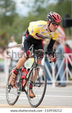 "BUENA VISTA, CO - AUGUST 22: Tejay van garderen races in US Pro Cycling Challenge on August 22, 2012 in Buena Vista, CO. The ""Queens Stage"" challenges 131 miles. Van Garderen is stage 2 winner. - stock photo"