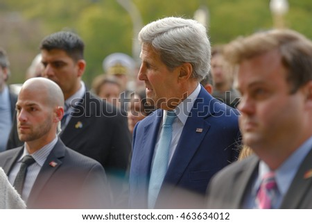 Buenos Aires, Argentina - Aug 4, 2016: United States Secretary of State John Kerry during his visit at Plaza San Martin.