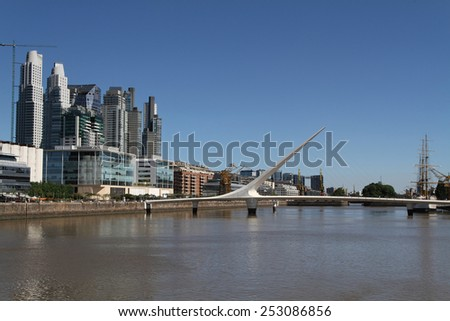BUENOS AIRES, ARGENTINA, DECEMBER 22, 2013 : Puerto Madero new district.The Puerto Madero Waterfront occupies a portion of the Ri�­o de la Plata riverbank as the latest architectural trends in the city