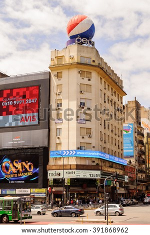 BUENOS AIRES, ARGENTINA - FEB 15, 2014: Avenida 9 de julio (9th of July avenue). It's world's widest avenue. It honors Argentina's Independence Day, July 9, 1816.
