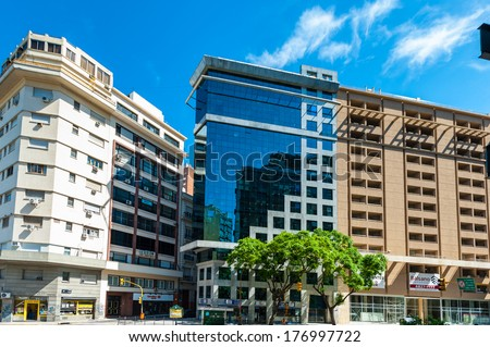 BUENOS AIRES, ARGENTINA - FEB 15, 2014: Building of the Avenida Belgrano, Buenos Aires. Named after  Manuel Belgrano who took part in the Argentine Wars of Independence and created Flag of Argentina.