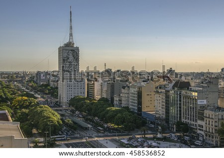Buenos Aires, Argentina, - February. 20. 2016: Aerial view of Plaza de la Republica at avenues Corrientes and 9 de Julio, Buenos Aires