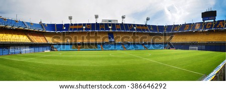 BUENOS AIRES, ARGENTINA - FEBRUARY 28, 2015: Estadio Alberto J. Armando (La Bombonera) is a home stadium for Club Atletico Boca Juniors. Stadium located in La Boca district of Buenos Aires, Argentina.