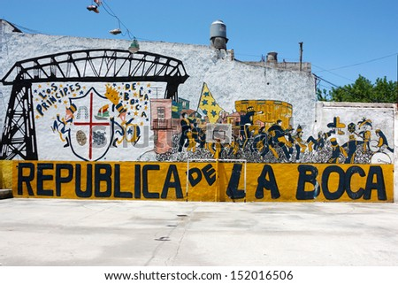 BUENOS AIRES, ARGENTINA - JAN 12: La Boca Republic painted on the street wall on January 12, 2011 in Argentina, Buenos Aires. Boca Juniors is the most famous soccer team in Argentina. - stock photo