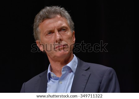 BUENOS AIRES, ARGENTINA - NOV 10, 2015: Mauricio Macri, presidential candidate for Cambiemos during a press conference with foreign media at Buenos Aires Government House. - stock photo