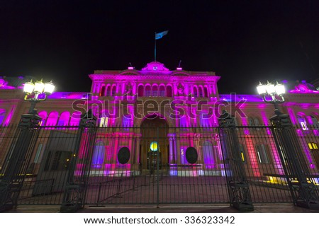 BUENOS AIRES, ARGENTINA, NOVEMBER 18: Illuminated Casa Rosada building facade located at Mayo square at night. Argentina 2014