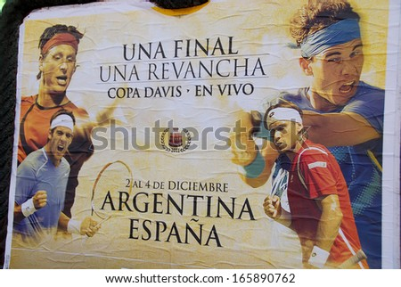 BUENOS AIRES ARGENTINA NOVEMBER 25: Poster of the Spain and Argentina  head-to-head in the Davis Cup by BNP Paribas World Group Final on nov, 25 2011 in Buenos Aires Argentina. Spain won  3  to 1.  - stock photo