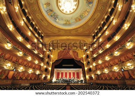 Buenos Aires, Argentina, November. 26. 2010: - Theatro Colon (Colon Theater), one of the worlds best opera house, the cultural icon of Buenos Aires, originally opened 1857, Buenos Aires, Argentina - stock photo