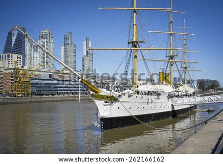 BUENOS AIRES, ARGENTINA-OCTOBER 06, 2013: Puerto Madero, Buenos Aires Argentina tourist destination. Ancient port city now become a center of tourism and real estate much development in recent years. - stock photo
