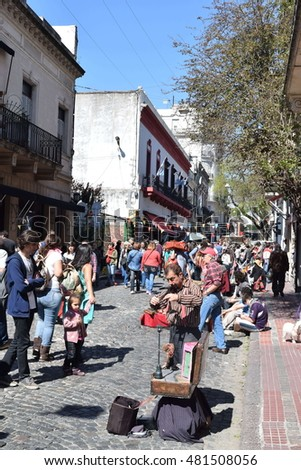 Buenos Aires Argentina - September 11 2016 - Sunday market at Defensa street,San Telmo
