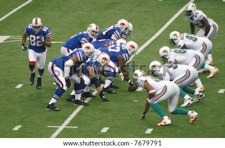 Buffalo Bills prepare attacking Miami Dolphins in a football game, Ralph Wilson Stadium, December 9, 2007 - stock photo
