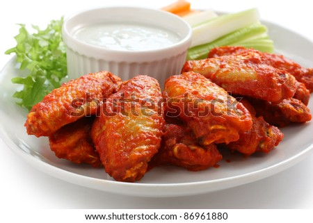 buffalo chicken wings with blue cheese dip - stock photo