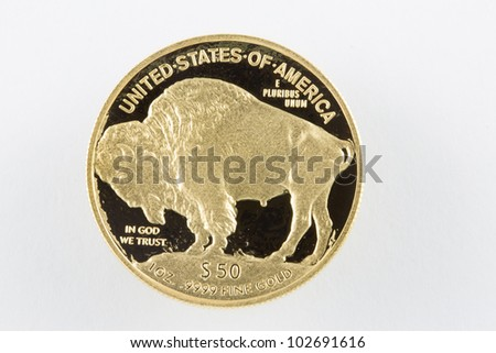 Buffalo Gold proof coin $50 - stock photo