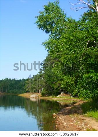 Buffalo Lake in the northwoods of Wisconsin - stock photo