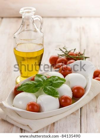 buffalo mozzarella with basil and tomatoes - stock photo