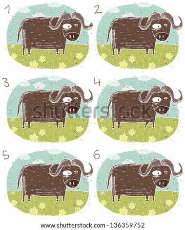 Buffalo Visual Game for children. Task: Find two identical images (match the pair)! Answer: No. 2 and 6. (for vector see image 114705112) - stock photo