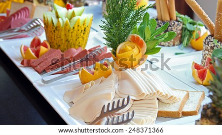 Buffet Catering Food Arrangement on Table. Food Buffet in Restaurant. All inclusive. Breakfast buffet. - stock photo