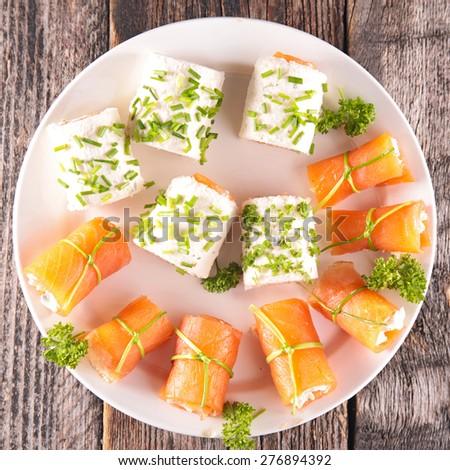 buffet food, canape - stock photo