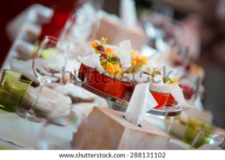 Buffet reception fruit wines champagne - stock photo