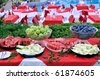 Buffet style food - a series of shallow DOF RESTAURANT images. - stock photo