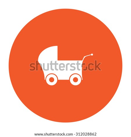 Buggy. Simple flat white icon in the orange circle. illustration symbol