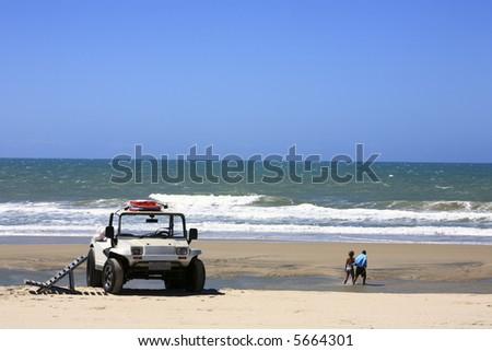 buggy tour and prainha beach near fortaleza in ceara state in brazil - stock photo