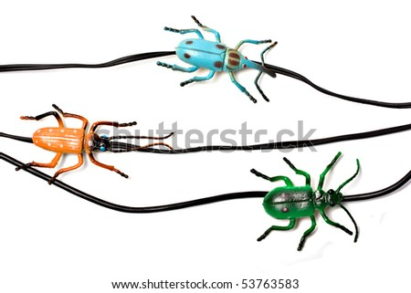 Bugs on a network cables, computer security concept. - stock photo