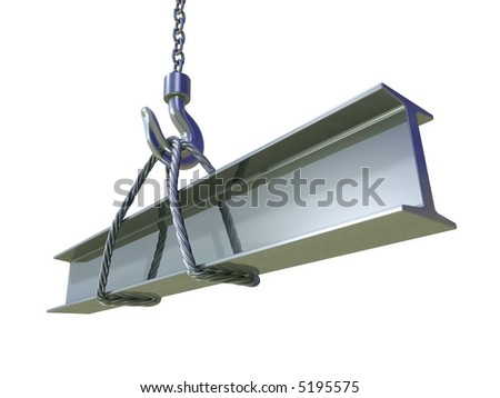 Build (structural steel with the hoist and the steel cable) - stock photo